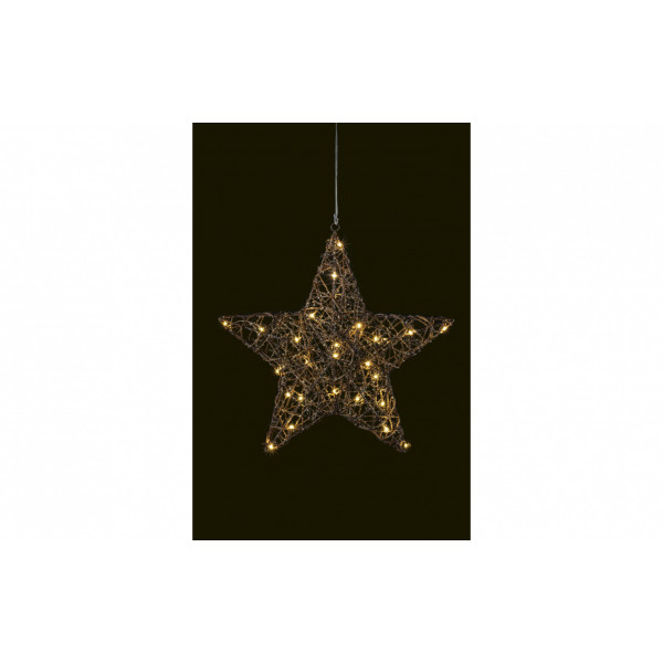 LED Fensterhänger Rattan 37.5 cm Stern